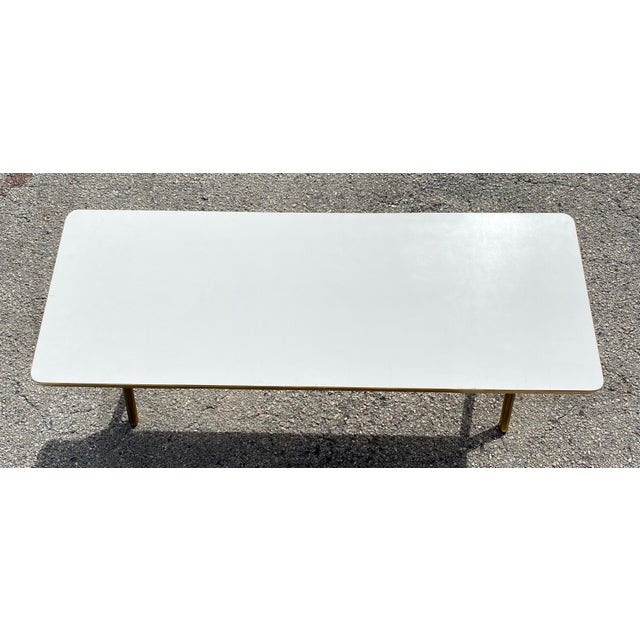 Mid-Century Modern Brass X Frame Cofee Table For Sale - Image 3 of 9