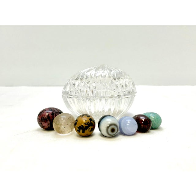 Late 20th Century Crystal Egg with Gemstone Eggs, Vintage For Sale - Image 5 of 11
