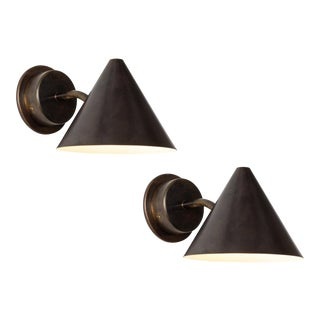Hans-Agne Jakobsson 'Mini-Tratten' Patinated Brass Outdoor Sconces - a Pair For Sale