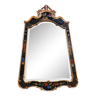 Friedman Brothers Chinoiserie-Style Golden & Black Mirror For Sale