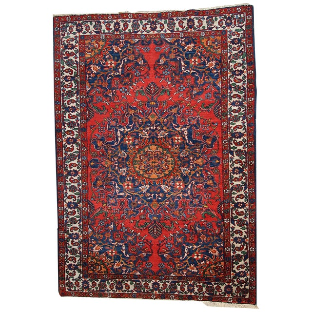 1970s Hand Made Vintage Persian Mashad Rug - 4′7″ × 6′4″ For Sale