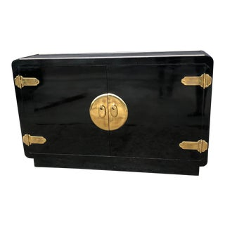 Vintage Mastercraft Black Lacquer and Brass Console Cabinet For Sale