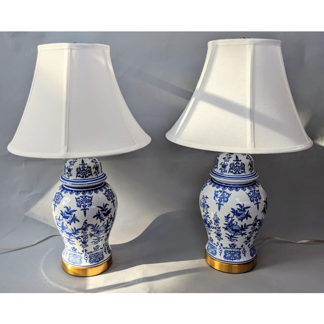 Lillian August Blue and White Ceramic Lamp For Sale - Image 4 of 13