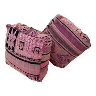Moroccan Pouf Covers- a Pair For Sale