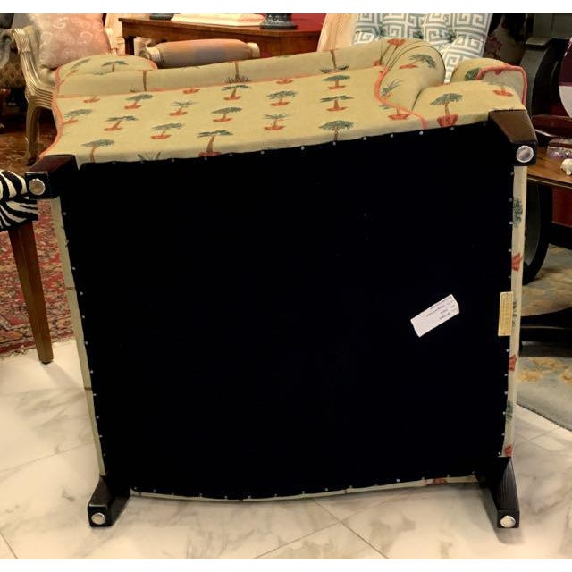 Traditional George Smith Yellow Upholstered Printed Club Chair For Sale In Tampa - Image 6 of 11