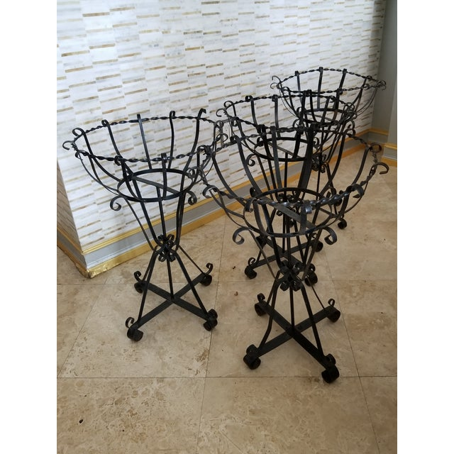Mid-Century Wrought Iron Basket Planters - Set of 4 For Sale - Image 4 of 10
