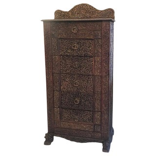 Carved 19th Century Anglo-Indian Chest of Drawers For Sale
