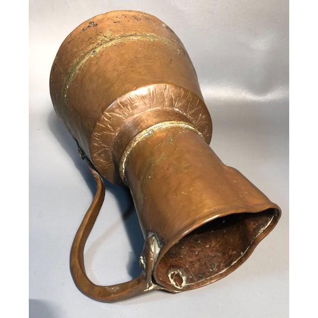 Metal Primitive 19c Pitcher Hand Hammered Copper Brass Large Moonshine Still Jug Kettle Pot Vase For Sale - Image 7 of 10