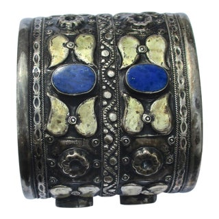 19th Century Afghan Silver Cuff With Lapis Stones & Handmade Mounting For Sale