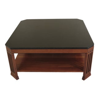 Traditional Stickley Granite Top Cherry Coffee Table For Sale