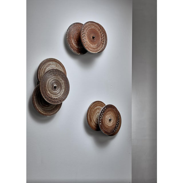 Mid-Century Modern Set of Three Axella Stentøj Three Disc Ceramic Wall Lamps, Denmark, 1960s For Sale - Image 3 of 6