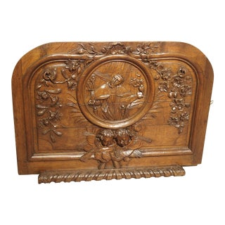18th Century French Hand Carved Oak Relief Panel of St. Augustine For Sale