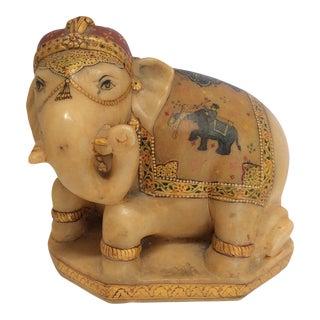 Carved & Painted Alabaster Elephant For Sale