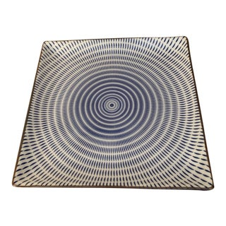 Japanese Mid-Century Op Art Ceramic Square Plate For Sale