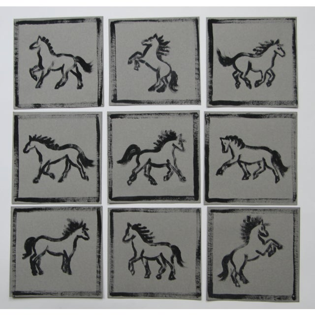 Nine abstract minimalist horse paintings in black on flannel gray backgrounds. Painted with a dry brush technique and...