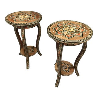 Syrian / Morrocan Inlaid Marquetry End Tables - a Pair For Sale