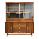 Image of Distinctive by Stanley Furniture Mid Century Walnut Glass Front China Cabinet For Sale