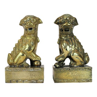 Brass Foo Dogs With Greek Key Trim For Sale