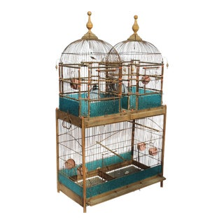 19 C. English Victorian Bird Cage. Rare to Be Double Domed.