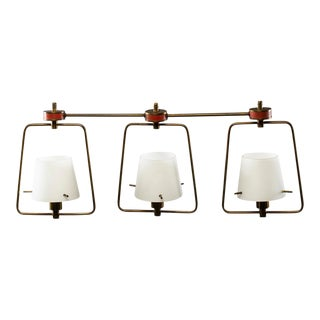 Stilnovo Attributed Three Light Fixture With Glass Shades and Brass Fittings For Sale