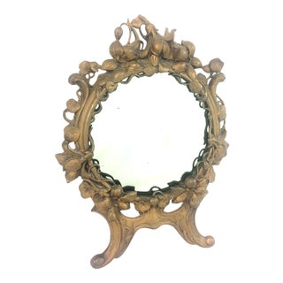 Antique Art Nouveau Victorian Gilt Cast Iron Table Vanity Mirror