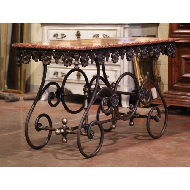 French Polished Iron and Brass Pastry Table With Variegated Red Marble Top For Sale - Image 9 of 11