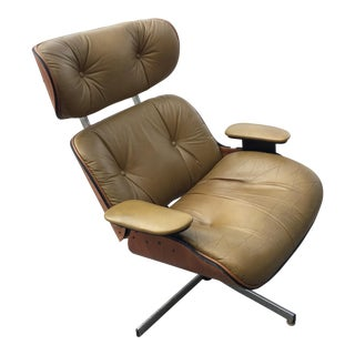 Mid-Century Modern Eames Style Brown Leather Plycraft Lounge Chair