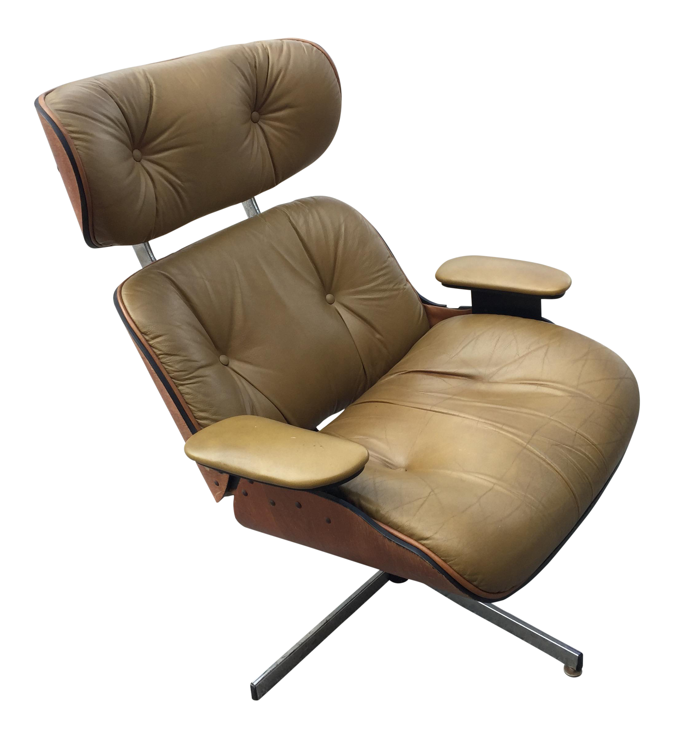 Beautiful Mid Century Modern Eames Style Brown Leather Plycraft Lounge Chair