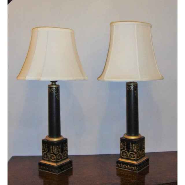 Empire Antique Ebonized & Gilt Tole Decorated Empire Lamps - A Pair For Sale - Image 3 of 8