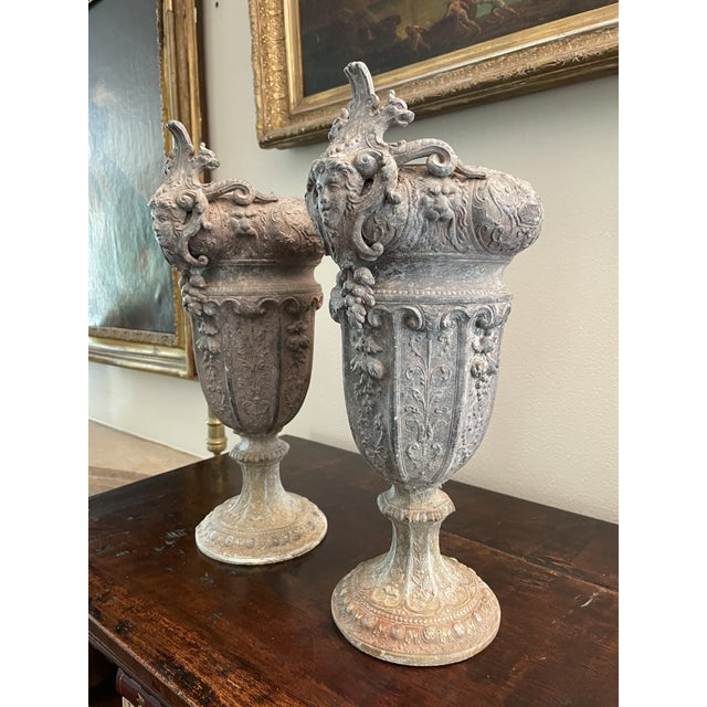 Late 19th Century French 19th Century Zinc Renaissance Revival Rococo Garden Vase Planters - A Pair For Sale - Image 5 of 13
