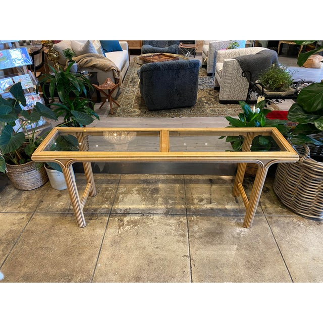 Sand Art Deco Style Console With Smoke Glass Top For Sale - Image 8 of 8