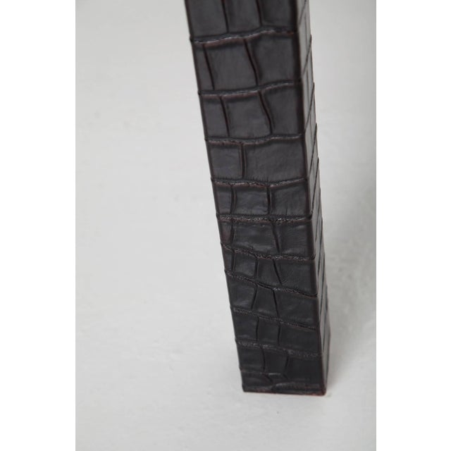 Black Alligator Embossed Leather End Tables - a Pair For Sale - Image 9 of 11