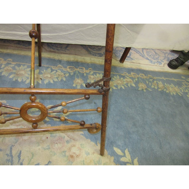 Arts & Crafts Antique Arts and Crafts Oak Wood Easel With Brass Accents For Sale - Image 3 of 7