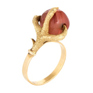 Vintage Dragon Claw Ring 14k Yellow Gold Agate Orb Estate Fine Jewelry 6.75 For Sale