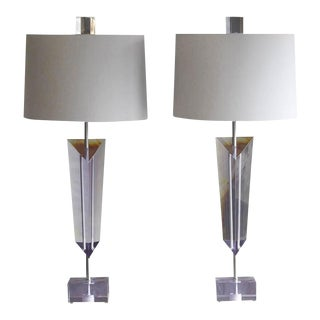 Pair of Large Light Purple Lucite Van Teal Lamps with New Linen Shades, Signed For Sale