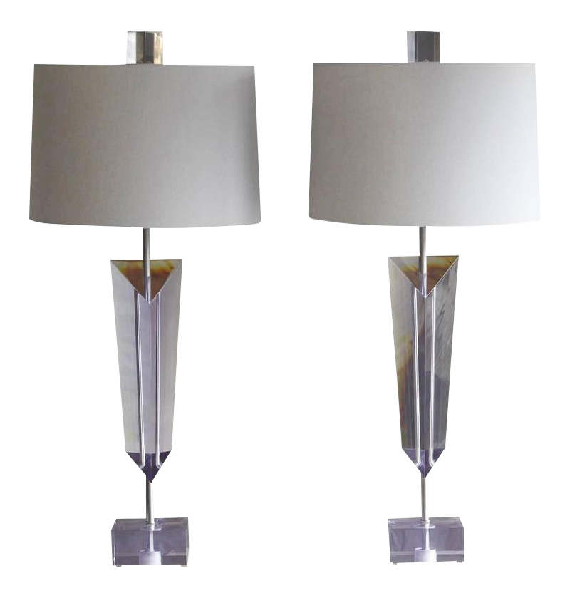 Marvelous Pair Of Large Light Purple Lucite Van Teal Lamps With New Linen Shades,  Signed