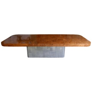 """Monumental Signed Paul Evans Burled & Chrome """"Cityscape"""" Extension Dining Table For Sale"""