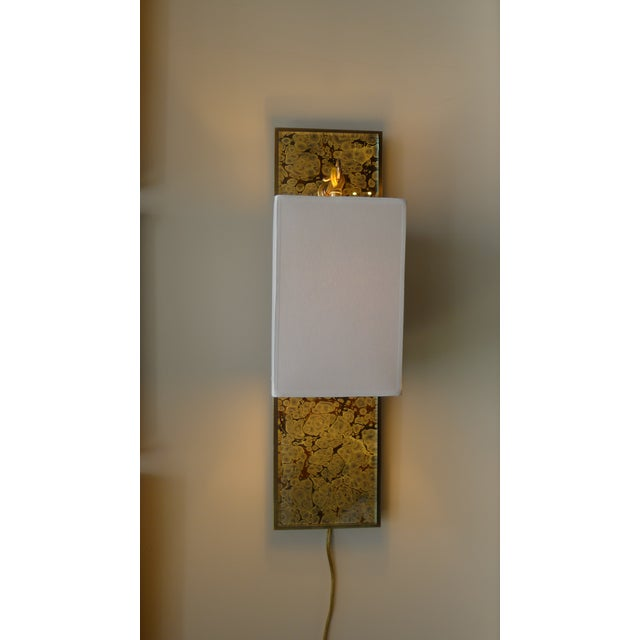 Modern Brass and Marbleized Wall Sconce V2 by Paul Marra For Sale - Image 11 of 13