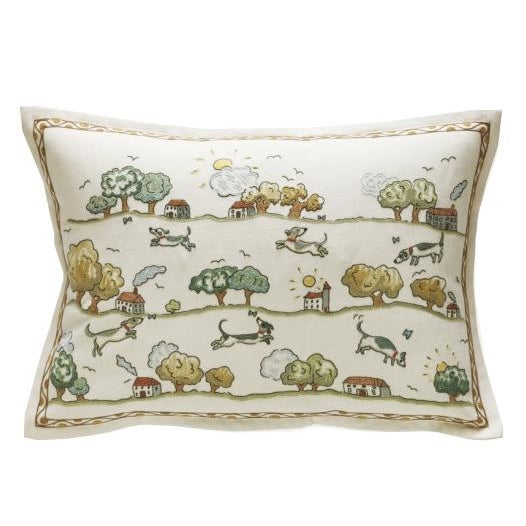 "Domenica More Gordon ""Jumping Over Houses"" Pillow - Image 6 of 6"