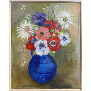 """""""French Bouquet of Flowers"""" Contemporary Still Life Oil Painting, Framed For Sale"""