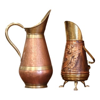 Set of Two Mid-Century French Copper and Brass Watering Cans From Normandy For Sale