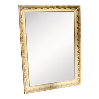 Antique Wood Mirror With Wavy, Shell Like Design For Sale