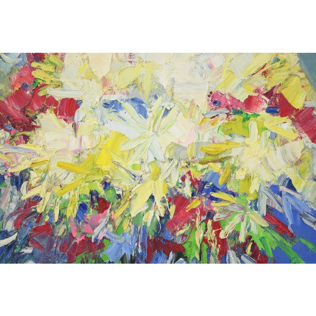 Mid 20th Century Italo Botti Mid-Century Modern Floral Still Life Oil Painting For Sale - Image 5 of 9