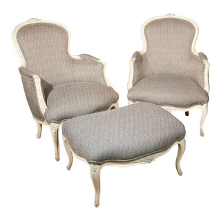 French Duchesse Brisee Bergere Chairs - Set of 3 For Sale