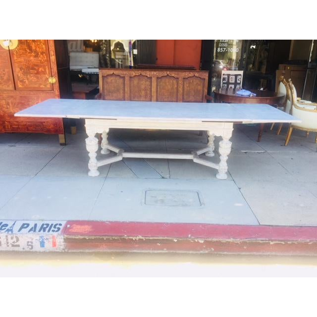 Vintage Carved Wood Refectory Table With Sliding Leaves For Sale - Image 9 of 13
