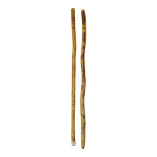 Primitive Handmade Walking Sticks - A Pair For Sale