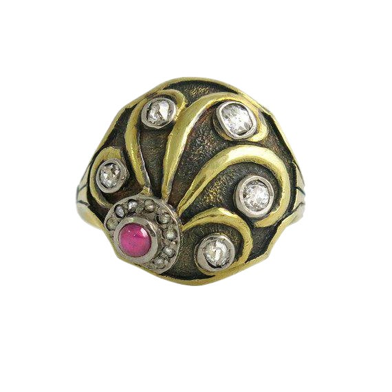Cozzolino Art Deco 18k Gold Diamond and Ruby Ring For Sale