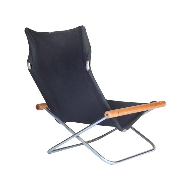 Canvas Folding Chair and ottoman by Takeshi NII For Sale - Image 5 of 9
