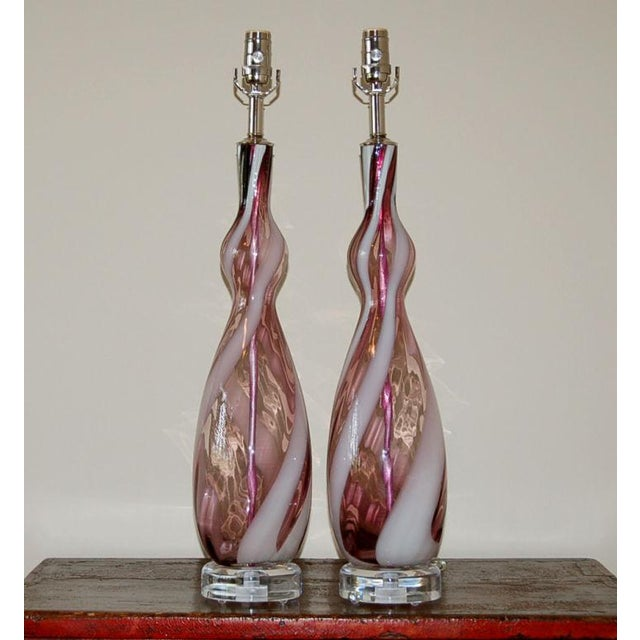 Whimsical pair vintage Italian glass table lamps in AMETHYST with a swirling ribbon of WHITE. We use nickel hardware and...
