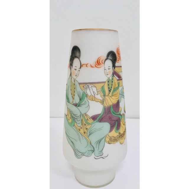 Japanese Opaline White Glass Vase Hand Painted With Geishas For Sale - Image 11 of 11